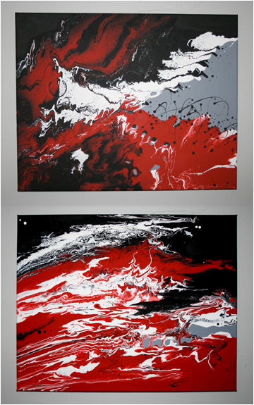 Acrylic pour painting pair (20W x 32H) - $150