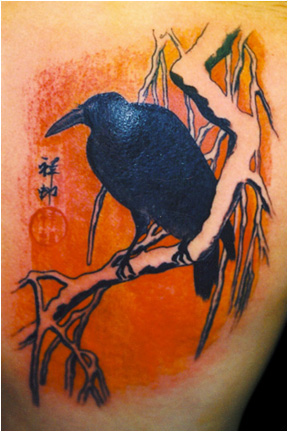 Crow tattoo by Greg Foster.